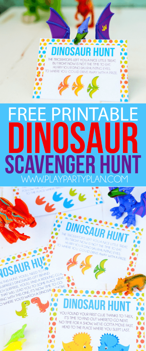 This free printable dinosaur hunt is perfect for a dinosaur birthday theme, a dinosaur party, or just to play with boys who love dinosaurs! Definitely one of the best dinosaur games or activities I've seen, and I know my son would love these ideas! Pair it with dinosaur decorations, food, and other ideas like watching LEGO Jurassic World, for the best dinosaur party ever! via @playpartyplan