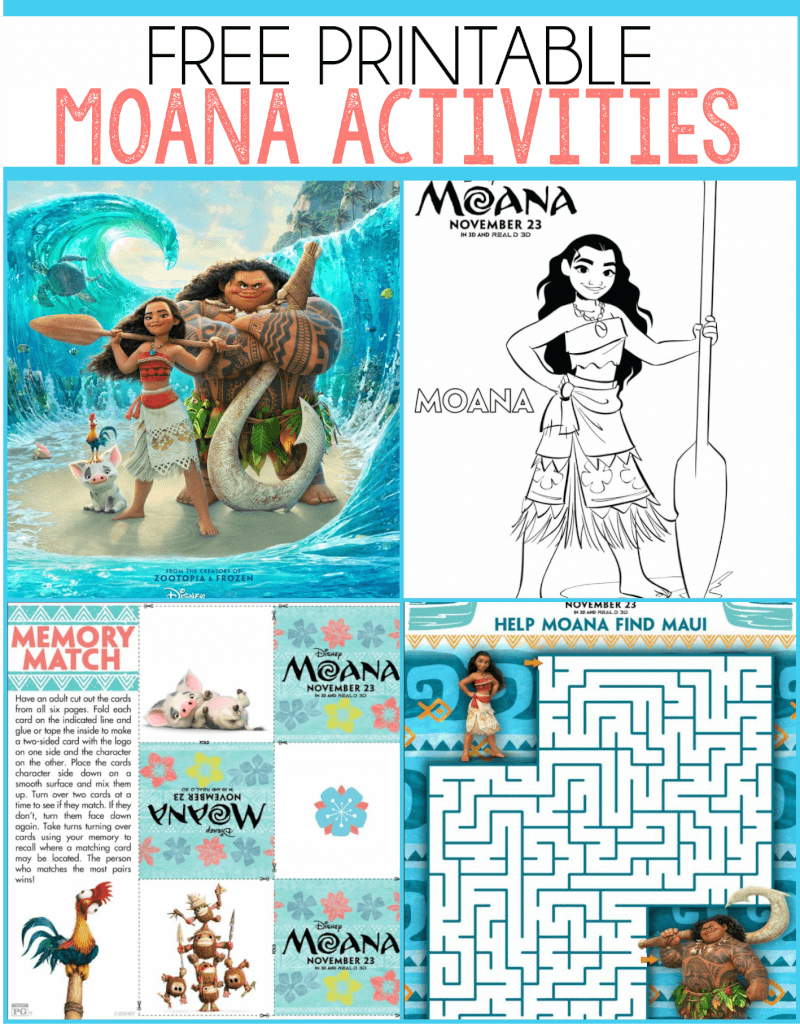 Free Moana Printables Coloring Pages Party Printables