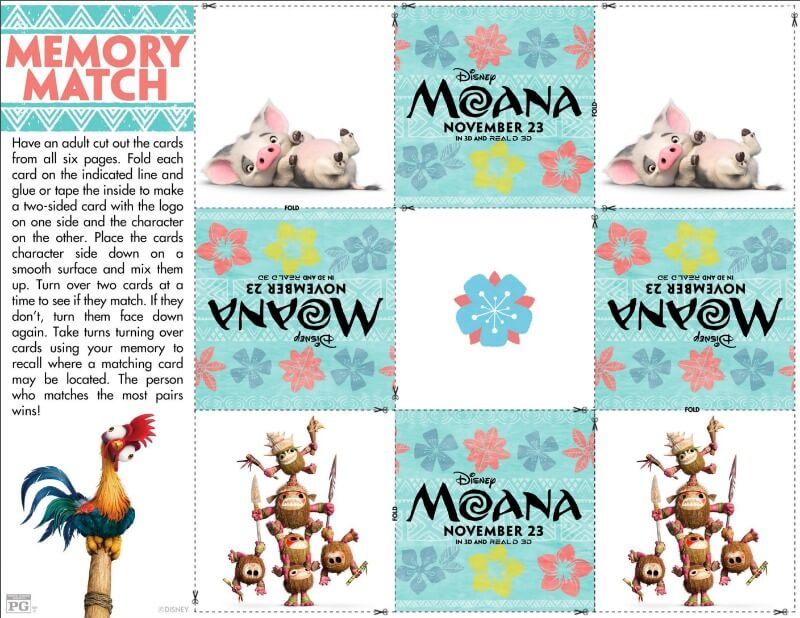 Three great free printable games inspired by Disney's Moana! Perfect for a party with kids, for enjoying after watching the trailer, or really anytime! I love the memory matching game for kids!