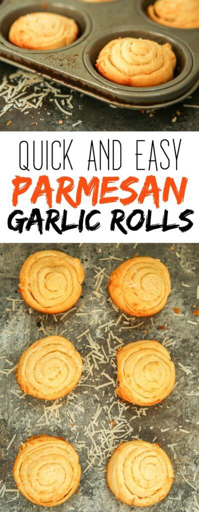 Quick and easy homemade parmesan garlic rolls recipe, no yeast required! They're simple to make using crescent sheets and perfect to eat in place of garlic bread! I can't wait to try them with a little bit of garlic shrimp scampi and pasta!