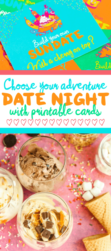 """Looking for fun and creative date night ideas that are great for married couples or even for teens? This """"build your own sundate"""" idea is so creative and actually a bunch of date ideas all in one. Choose one option from the card to decide on your date night outfit, what you're eating for dinner, whether you're staying at home or going out, and so on. This seriously looks like so much fun. And cheap too! I can't wait to try it out this winter."""