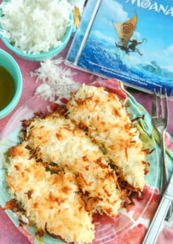 These gluten free baked coconut chicken tenders are the perfect easy dinner! Double dip chicken to make it extra crispy then bake (never fried!) the nuggets until the strips are baked. They're easy, healthy, and delicious dipped in your favorite sauce!