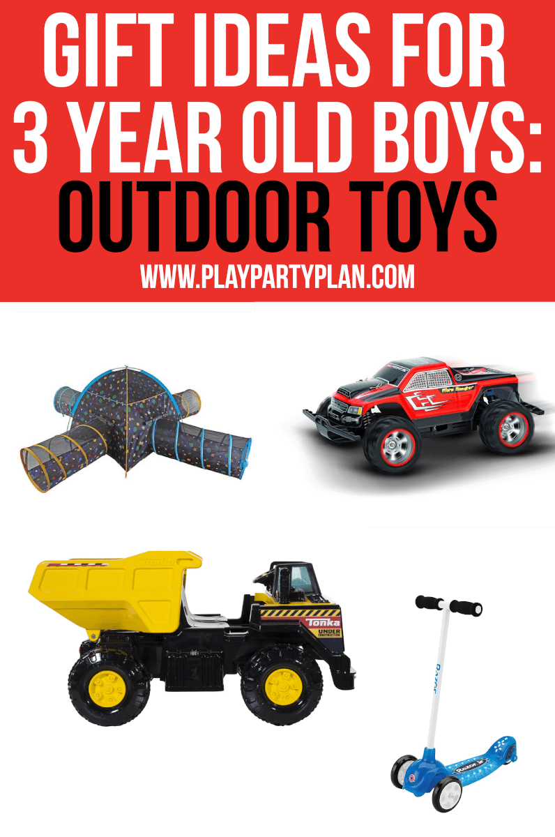 Make sure to include outdoor toys for 3 year old boys
