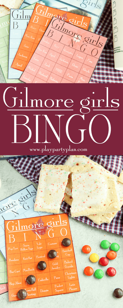These Gilmore Girls bingo cards would be perfect for a party to watch the new show on Netflix on Black Friday! Who will we see first - will it be Rory, Lorelai, and Luke or maybe some junk food like pop-tarts. Doesn't matter if you're Team Logan, Jess, or Dean, you'll love these ideas for funny games during a Gilmore Girls viewing party! I'm definitely printing them out to play with my sister! via @playpartyplan