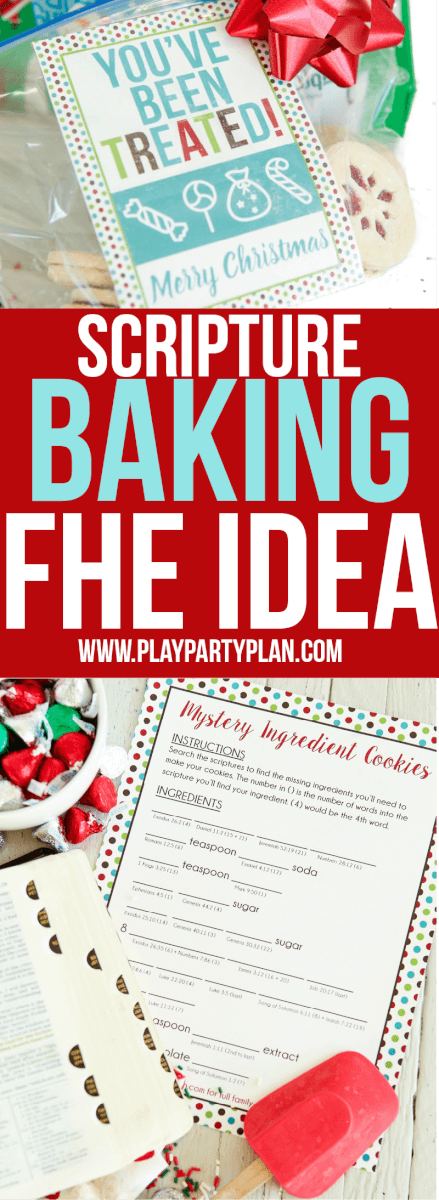Fun LDS family home evening idea that's great for kids, for teens, or even for couples to do together. Read the scriptures to find the missing ingredients, bake cookies, and use the free printable Christmas treat gift tags to give to friends and family. One of the most fun activities I did as a kid!