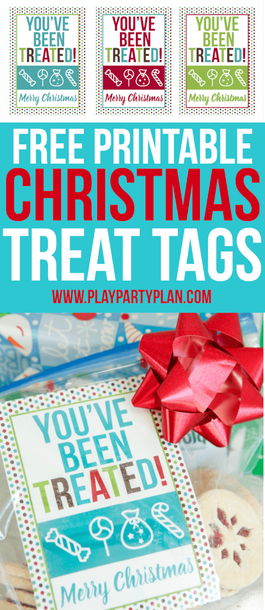 These free printable Christmas treat tags are perfect to use as bag toppers when you give friends holiday treats! Or give them as part of the 12 days of Christmas or even with homemade treats in a stocking! Kids will love putting together treat bags to pass out to their friends and families, just like little elves!