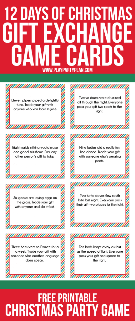 love this fun twist on traditional gift exchange games free printable cards inspired by the - How Many Gifts In 12 Days Of Christmas