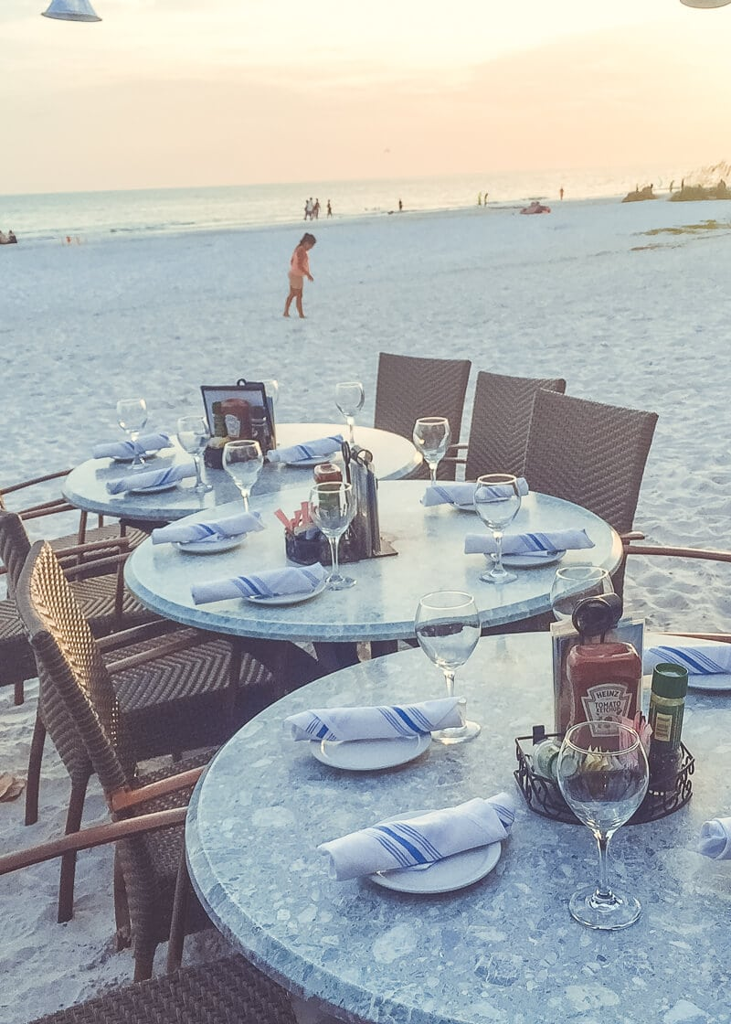 Tables on the beach
