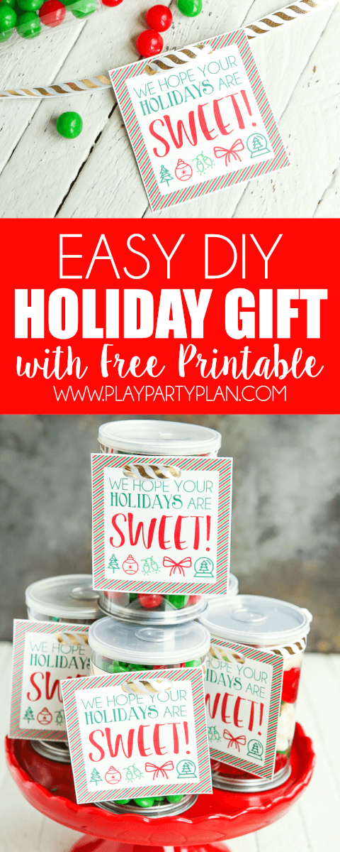 Free printable holiday gift tags - just add to a container full of treats and wish someone a sweet holiday! One of the easiest DIY gifts around. via @playpartyplan