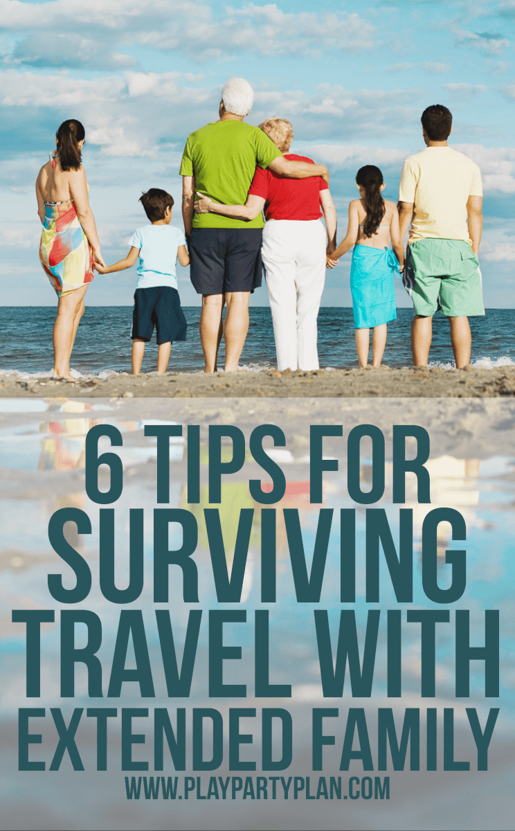 Tips for traveling with extended family. Whether it's grandparents, in-laws, or siblings, traveling with others can be tough. This guide makes it easy for everyone to stay sane and even have a good time! via @playpartyplan