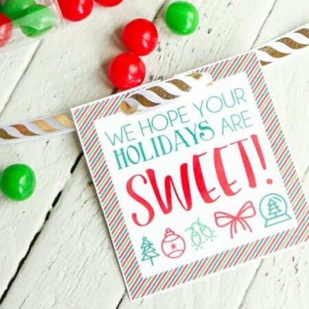 Free printable holiday gift tags - just add to a container full of treats and wish someone a sweet holiday! One of the easiest DIY gifts around.