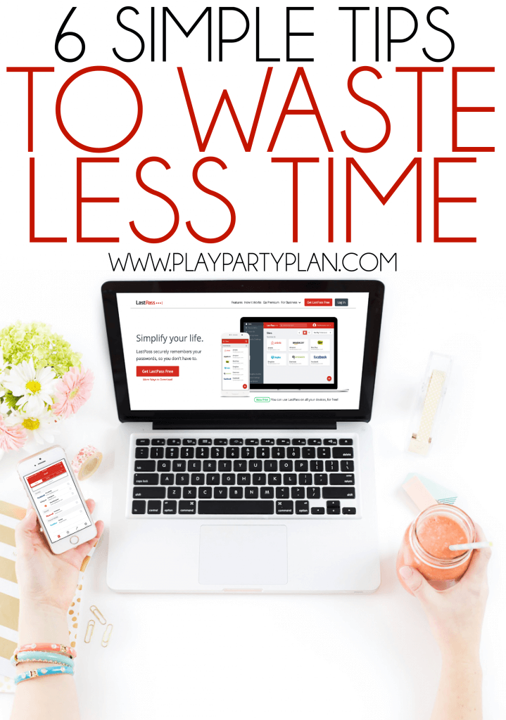 Waste less time with these six simple tips! Easy ways to be more productive and get more done every day rather than wasting time scrolling through social media.
