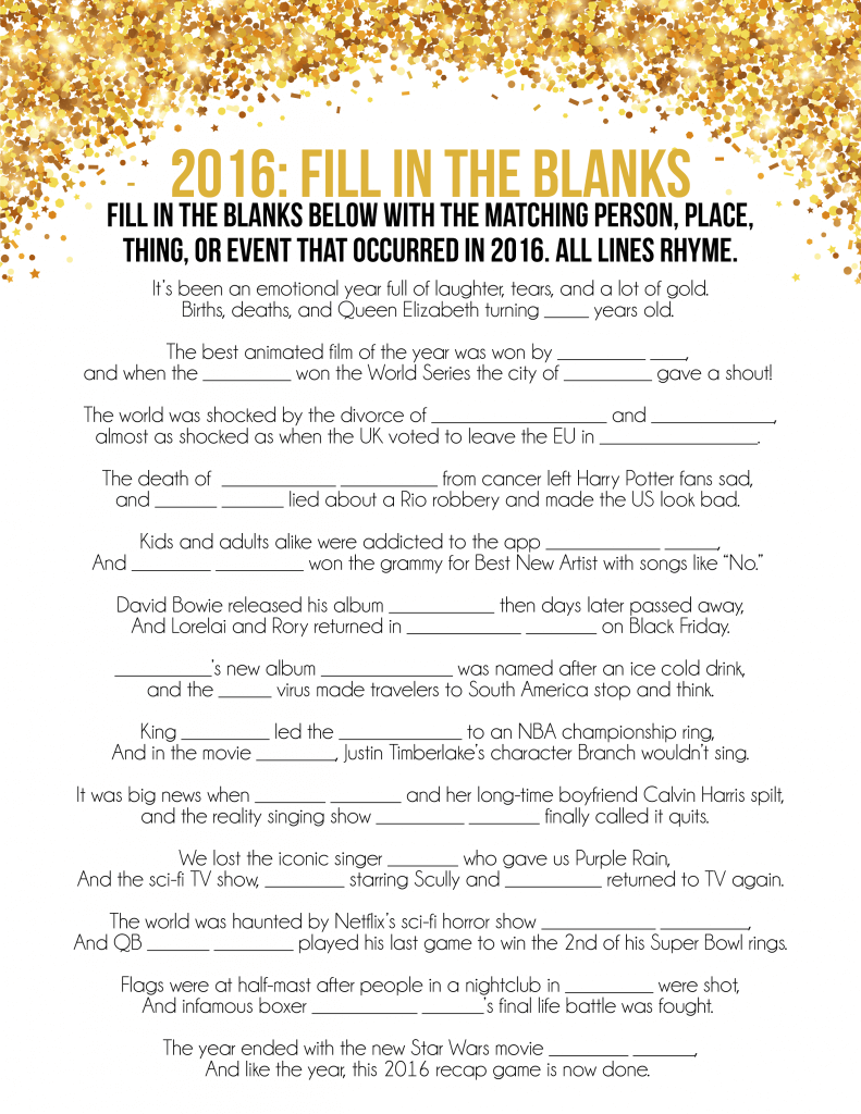 2016 New Year's Eve Games | Printable Trivia Games