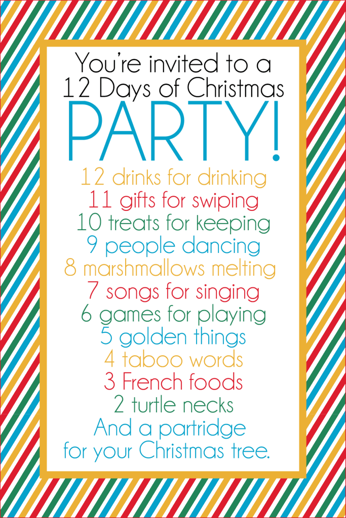 Christmas Drinking Party Ideas Part - 19: This Fun 12 Days Of Christmas Party Has It All - Gift Ideas, Printables,