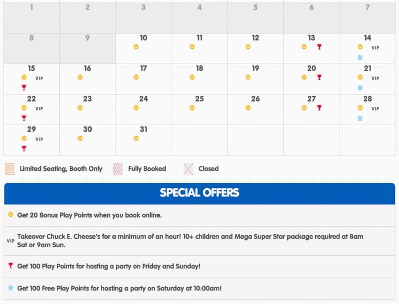 A screenshot showing some Chuck E cheese birthday coupons