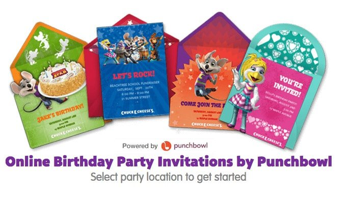 Chuck E Cheese birthday invitations you can send online