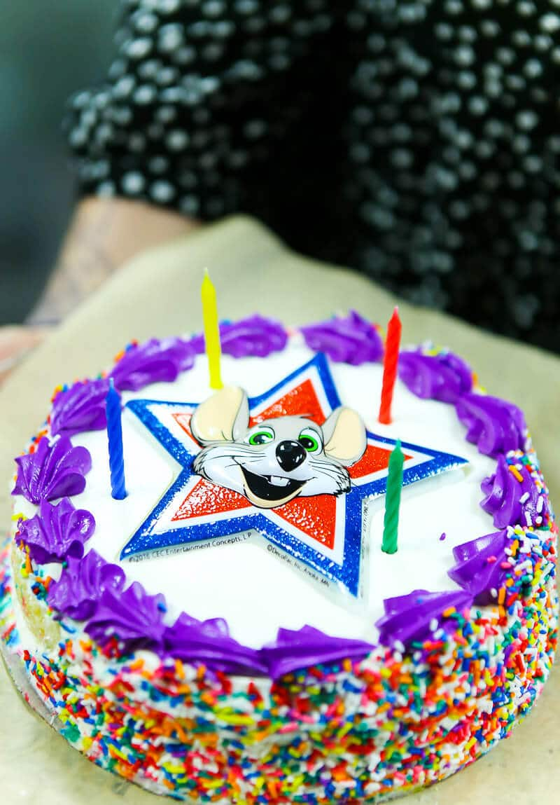 The Chuck E Cheese cake at my son's Chuck E Cheese birthday party