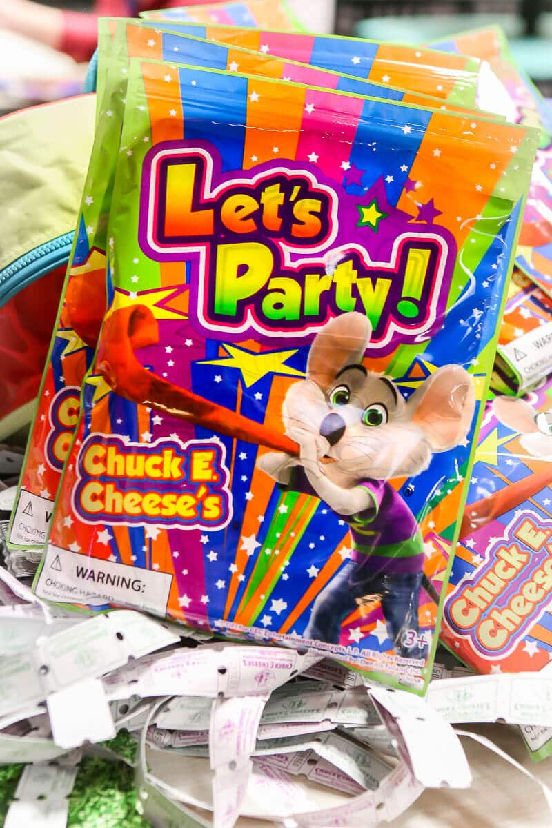 Chuck E Cheese party favors that come with some of the Chuck E Cheese birthday packages