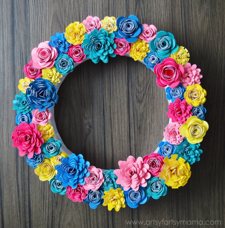 Paper flower wreath made with the Cricut Explore Air