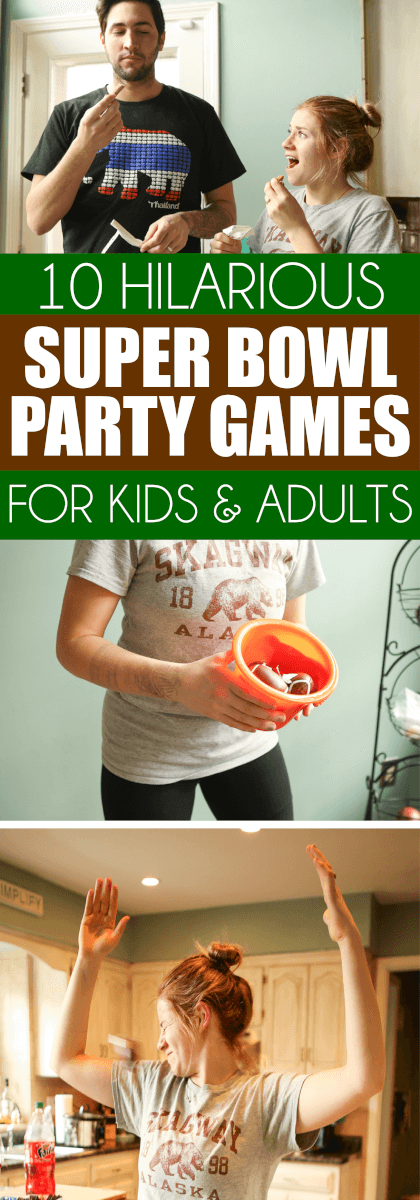 These hilarious Super Bowl party games are perfect for kids or for adults and they're quick enough that you could play during halftime. Divide everyone who plays into groups and play minute to win it style or head to head! Tons of great super bowl party game ideas!