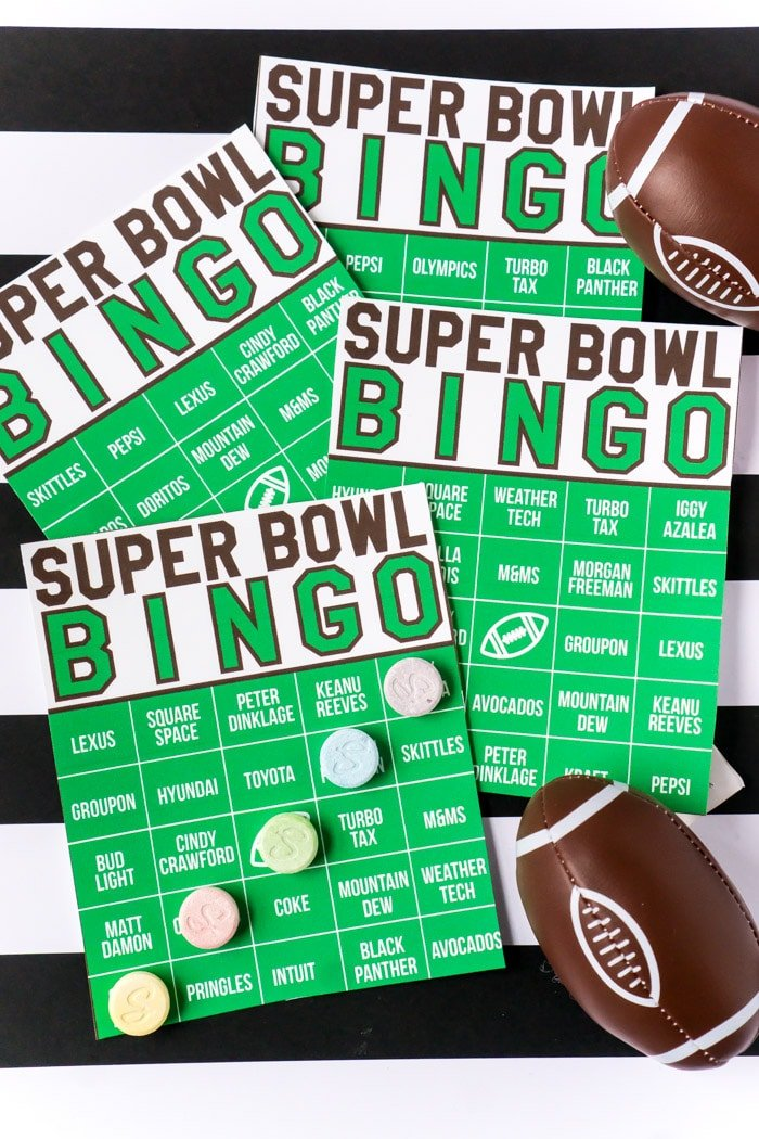 A fun printable Super Bowl bingo game based on commercials