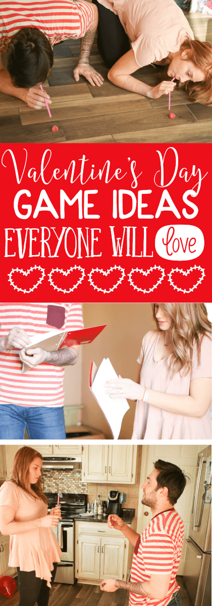 These chick flick inspired Valentine's Day party games for adults aren't just for adults. The games are great for teens, for kids, for fun in the classroom, or even for an anti Valentines Day party! They're minute to win it inspired and only require simple things like notebooks and ping pong balls! I love these party ideas! via @playpartyplan