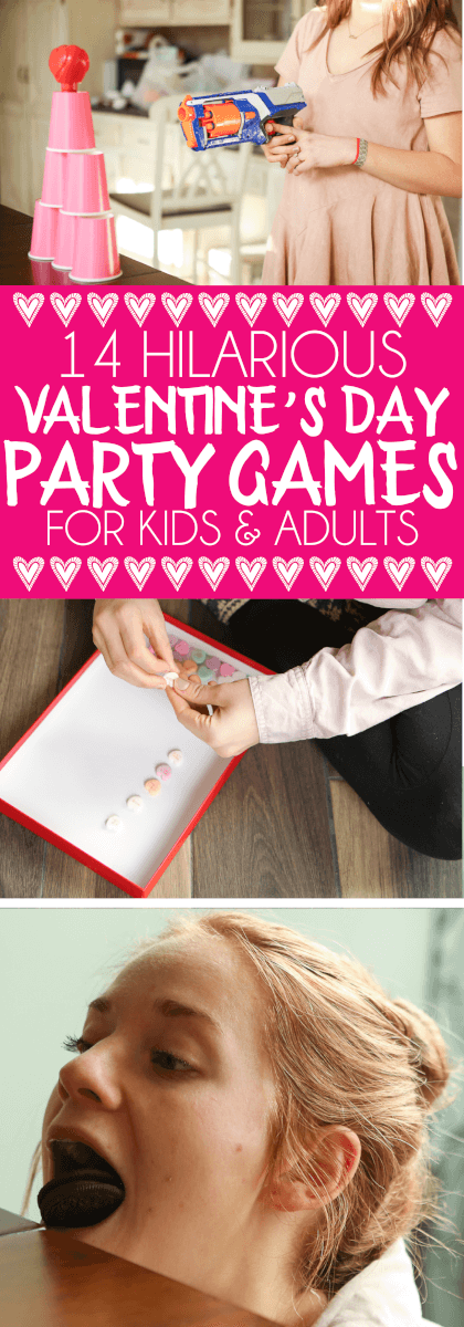 14 hilarious minute to win it Valentine's Day party games that are great ideas for adults, for kids, for teens, and even for playing in the classroom! I love the idea of having an anti Valentines day party and playing these non-romantic games with friends for a little fun! via @playpartyplan
