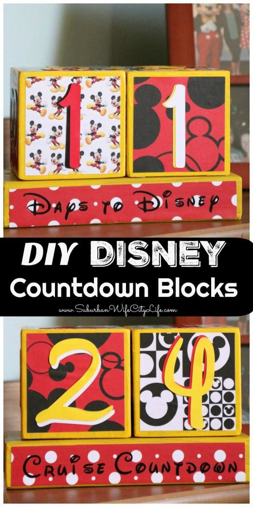 Disney countdown blocks made with the Cricut Explore Air