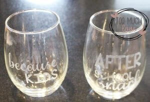 Etched glass cups made with the Cricut Explore Air