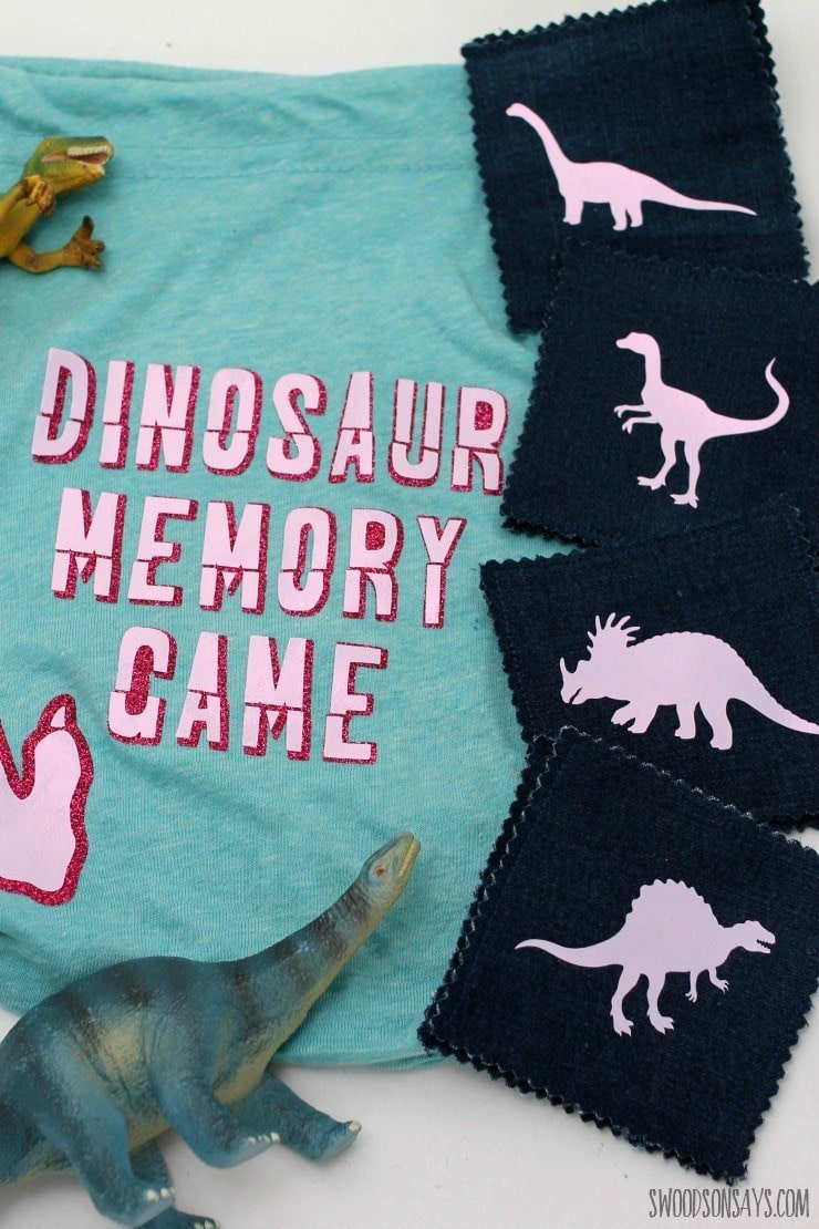Dinosaur memory game made with the Cricut Explore Air