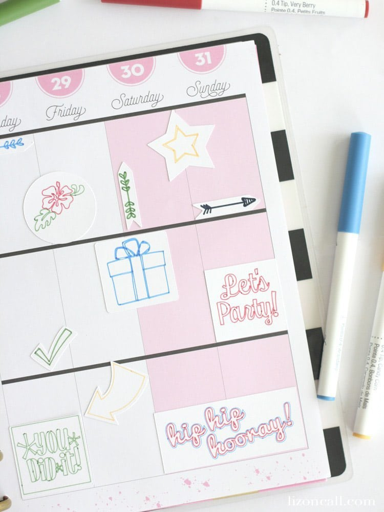 Planner stickers made with the Cricut Explore Air