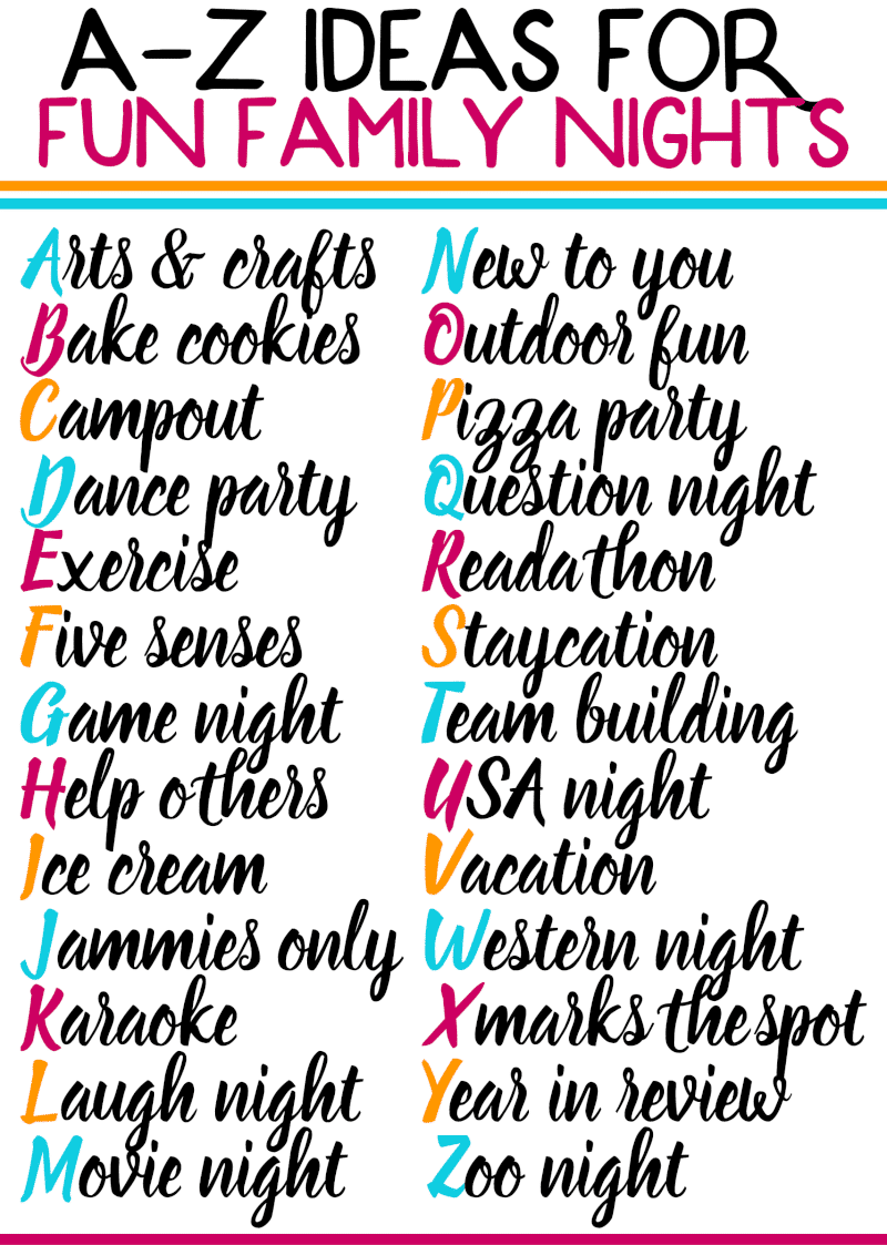 Spend more time with your family this year by planning out family nights each week! This free printable list of family night activities is perfect for any age - for toddlers, with teenagers, with school-aged kids and more. Some of the best family nights and ideas I've seen! I can't wait to try this with my family.