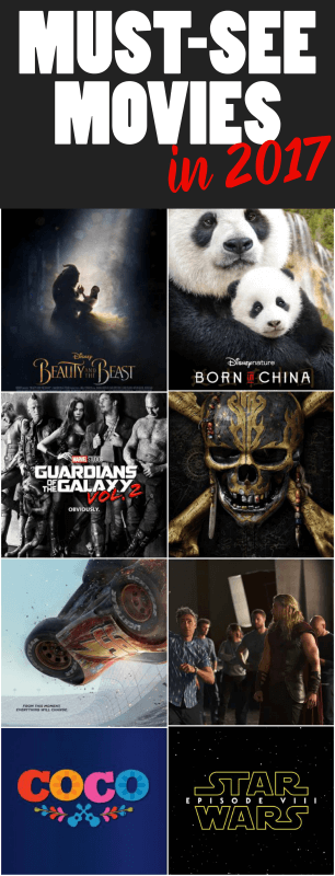 Movies coming out in 2017 that everyone should see including everything from the newest Marvel superhero movie to one following the journey of pandas in China. Oh and Baby Groot! Definitely some of the best movies of the year!