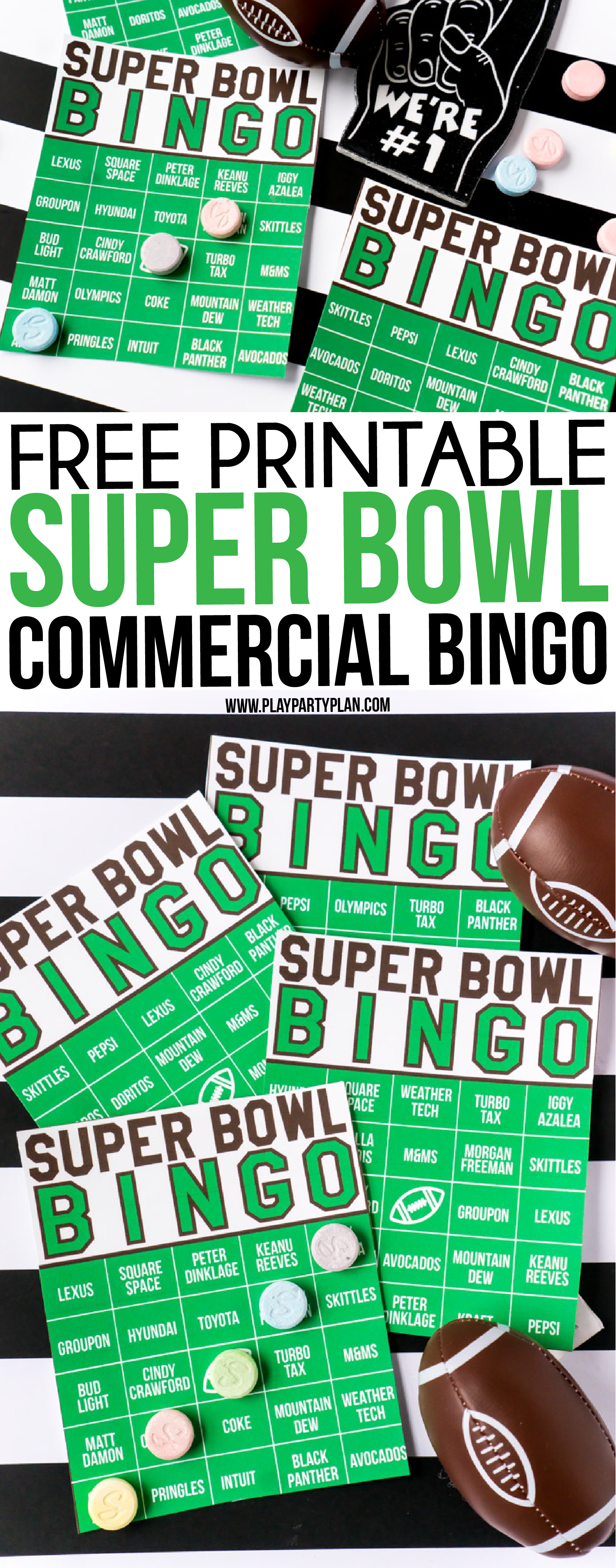 These Super Bowl commercial bingo cards are one of the best Super Bowl party games ever! Just print out the printables, hand out on Super Bowl Sunday, watch the funny (and not so funny commercials) and plays! One of our favorite Super Bowl party ideas! via @playpartyplan