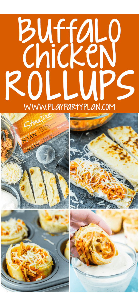 These buffalo chicken dip rollups combine buffalo chicken dip and a crisp naan exterior for the perfect game day food! via @playpartyplan