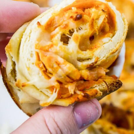 These buffalo chicken dip rollups combine buffalo chicken dip and a crisp naan exterior for the perfect game day food!