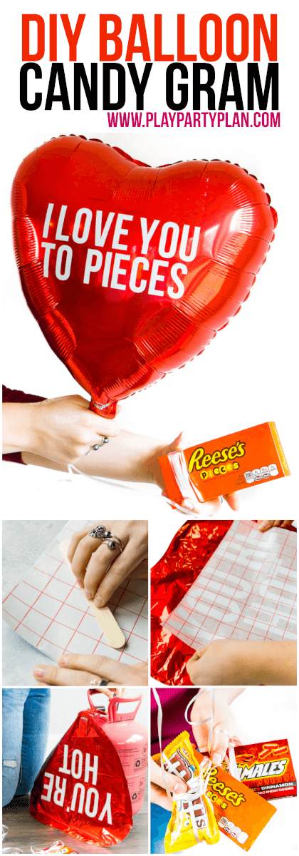 Forget traditional candy grams! This year for Valentine's Day, kick old-school candy grams up a notch with this fun DIY balloon candy gram idea! With tons of clever candy bar sayings and simple instructions, this makes the best gift for boyfriend or any valentine! Love the list of other Valentine's Day gifts for him at the bottom too! via @playpartyplan