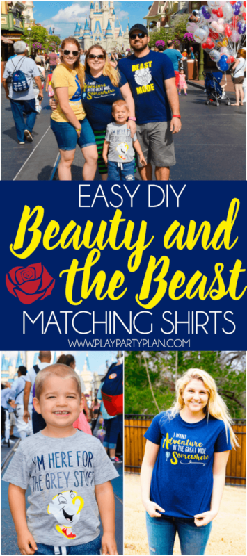 These easy DIY Beauty and the Beast shirts are perfect for a trip to Disney, for a Beauty and the Beast party, or to wear to the new Beauty and the Beast movie! With Belle, Chip, and Beast options there's something for couples, for kids, and for women who want to be like Belle!