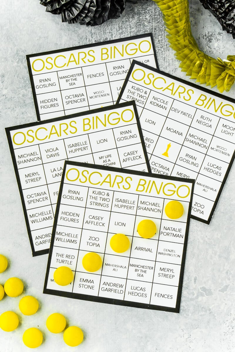 Looking for fun Oscar Night party ideas? Love these Oscar Night bingo cards, perfect for playing with friends and family while you watch the red carpet and ooh and awe over Oscar Night outfits. And I love all the Oscar party food and decoration ideas too!