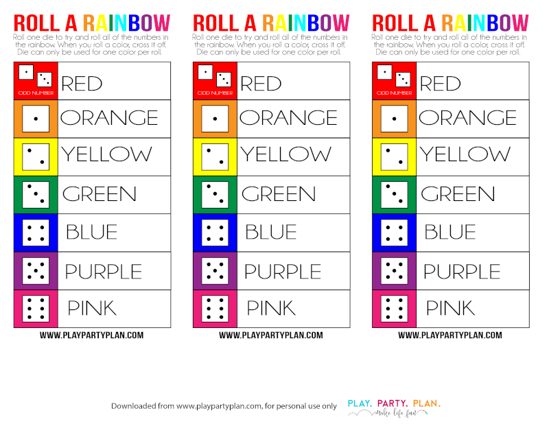 This free printable roll a rainbow game is a great St. Patrick's Day game for preschoolers, for classroom parties, or even for adults as part of these fun St. Patrick's Day minute to win it games!
