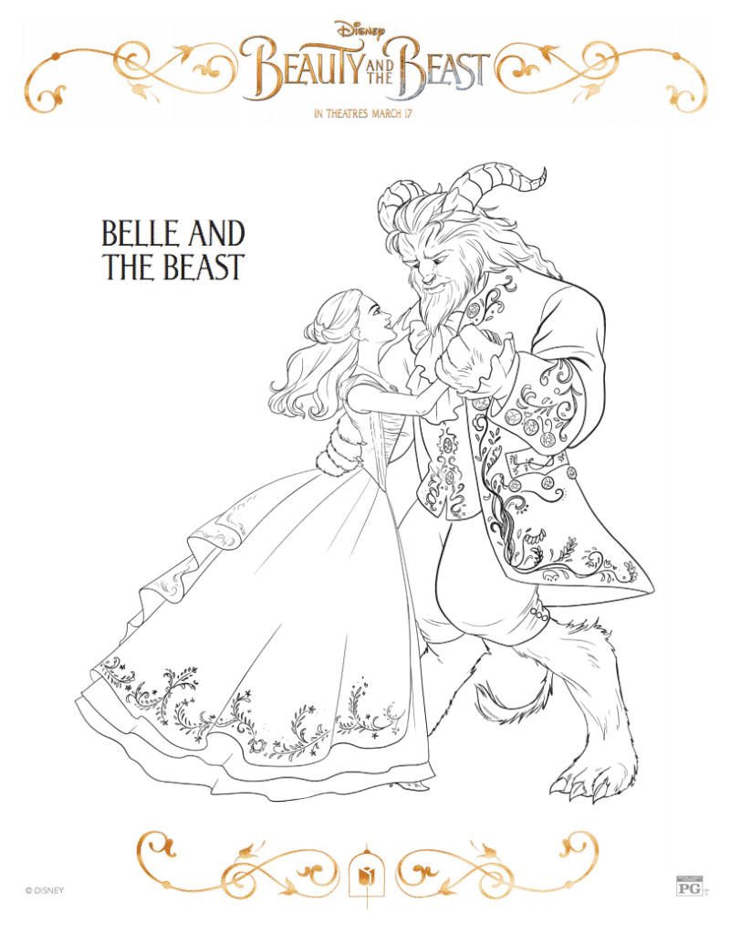 Beauty and the beast characters coloring pages chip