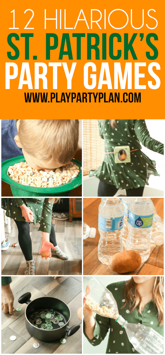 With everything from a pot of gold game to a leprechaun catch, these hilarious St. Patrick's Day party games are fun for everyone celebrating St. Paddys! There's a free printable rainbow roll, minute to win it games ideas, luck of the Irish, and other fun activities you can do with kids, adults, or even teens. Perfect for St. Patty's Day!