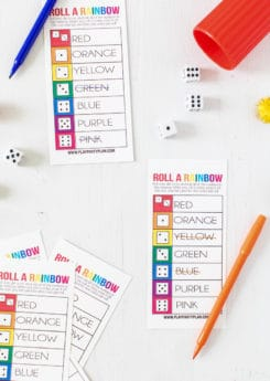 Free printable roll a rainbow St. Patrick's Day game