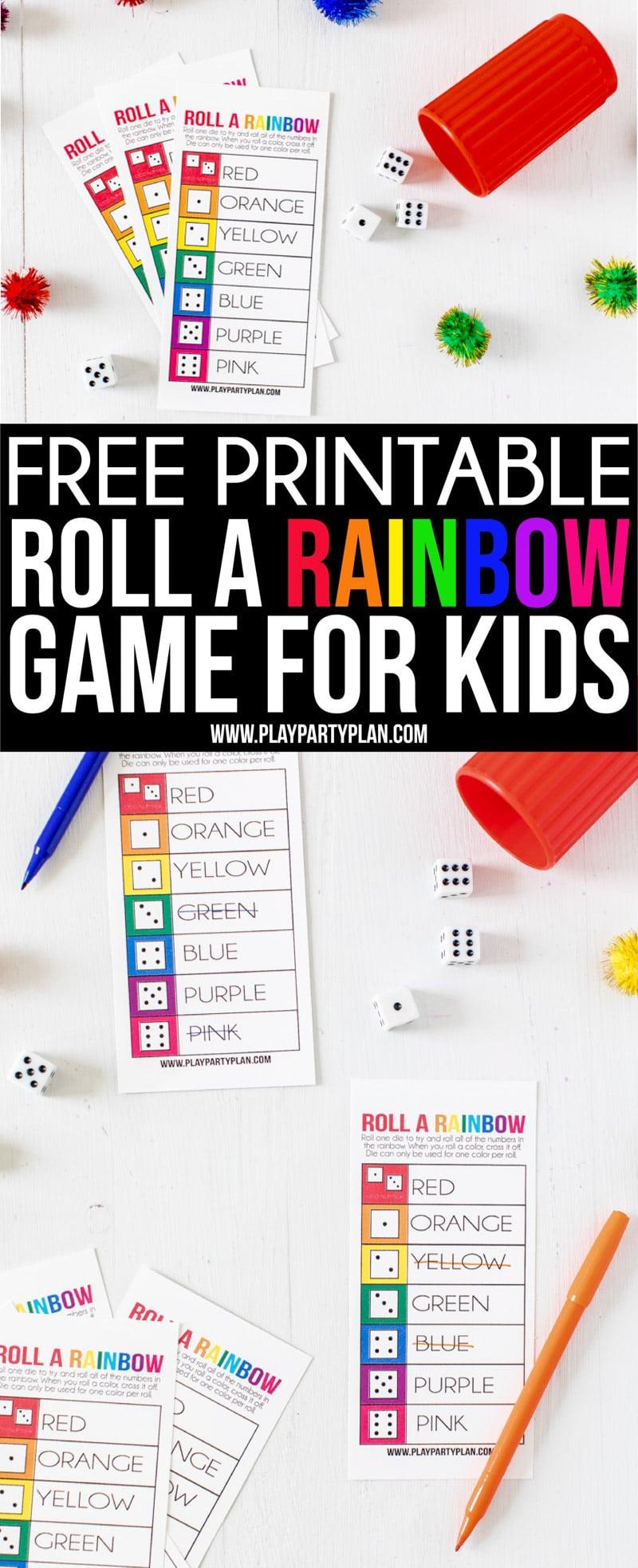 This roll a rainbow game is one of the best St. Patrick's Day games for kids! Perfect if you're looking for rainbow activities for the classroom, for a party, or just for a fun colorful afternoon!