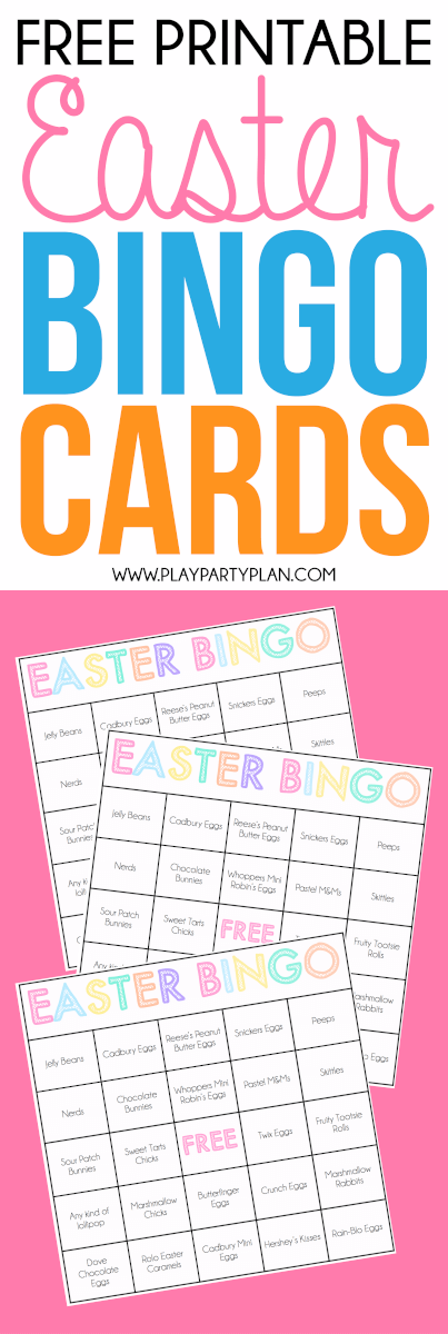 Easter games for kids like these free printable Easter candy bingo cards are the perfect way to celebrate Easter with your family and friends! Perfect for any spring or Easter party! via @playpartyplan