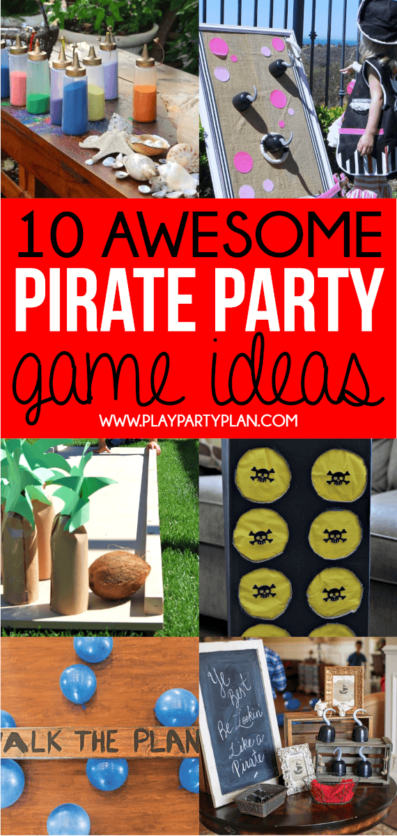 Awesome pirate party games including ones you can setup yourself, free printable ones, and more! Love all of these cute party ideas!