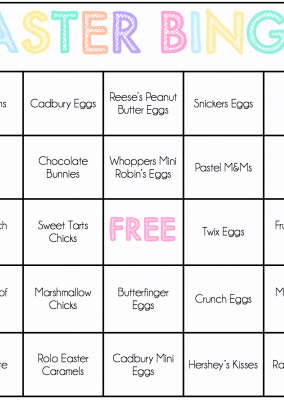 Easter Games for Kids: Easter Candy Bingo Cards