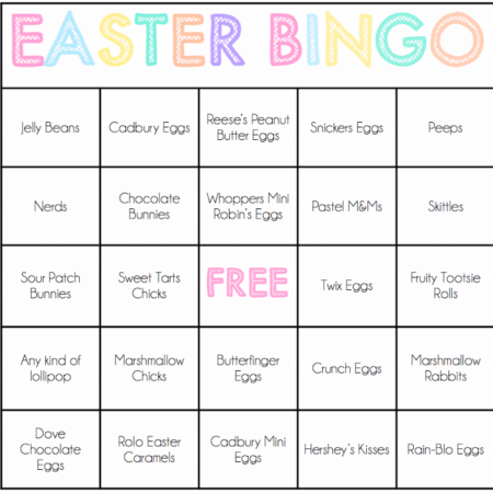 Easter games for kids like these free printable Easter candy bingo cards are the perfect way to celebrate Easter with your family and friends! Perfect for any spring or Easter party!