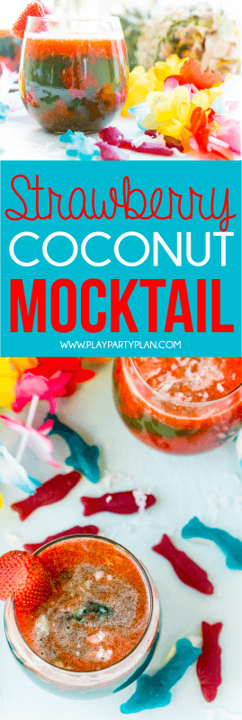 This easy mocktail recipe is inspired by Te Fiti in the movie Moana. With a little sweet strawberry puree mixed with tropical juices, it's the best mocktail for all ages!