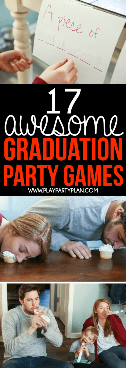 Looking for things to do at a graduation party? These graduation party games are some of the best ideas ever! They're perfect for college, high school, or even an 8th grade graduation party! We are definitely trying out these fun minute to win it games at our 2018 graduation party! via @playpartyplan